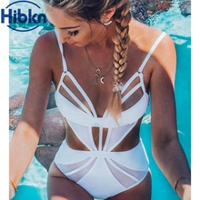 Cut out Mesh one piece Swimsuit high cut swimwear women mesh swim suit mesh monokini halter swimming wear sexy bodysuit