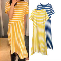 2019 Korean version women's dress Striped stitching Dress irregular Ice silk summer dress Fashion loose vestidos