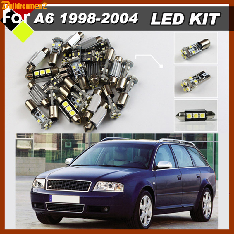 Buildreamen2 Car No Error Lamps LED Package Kit Interior Under Door License Plate Dome Map Bulbs White For Audi A6 1998-2004 15pcs white canbus error free car led light bulbs interior package kit for 2002 2003 2004 audi a4 b6 map glove box door lamp