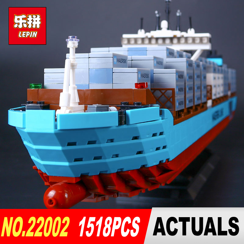 New Lepin 22002 Technic Series The Maersk Cargo Container Ship Set 10241 Building Blocks Bricks Educational Toys lepin 22002 1518pcs the maersk cargo container ship set educational building blocks bricks model toys compatible legoed 10241