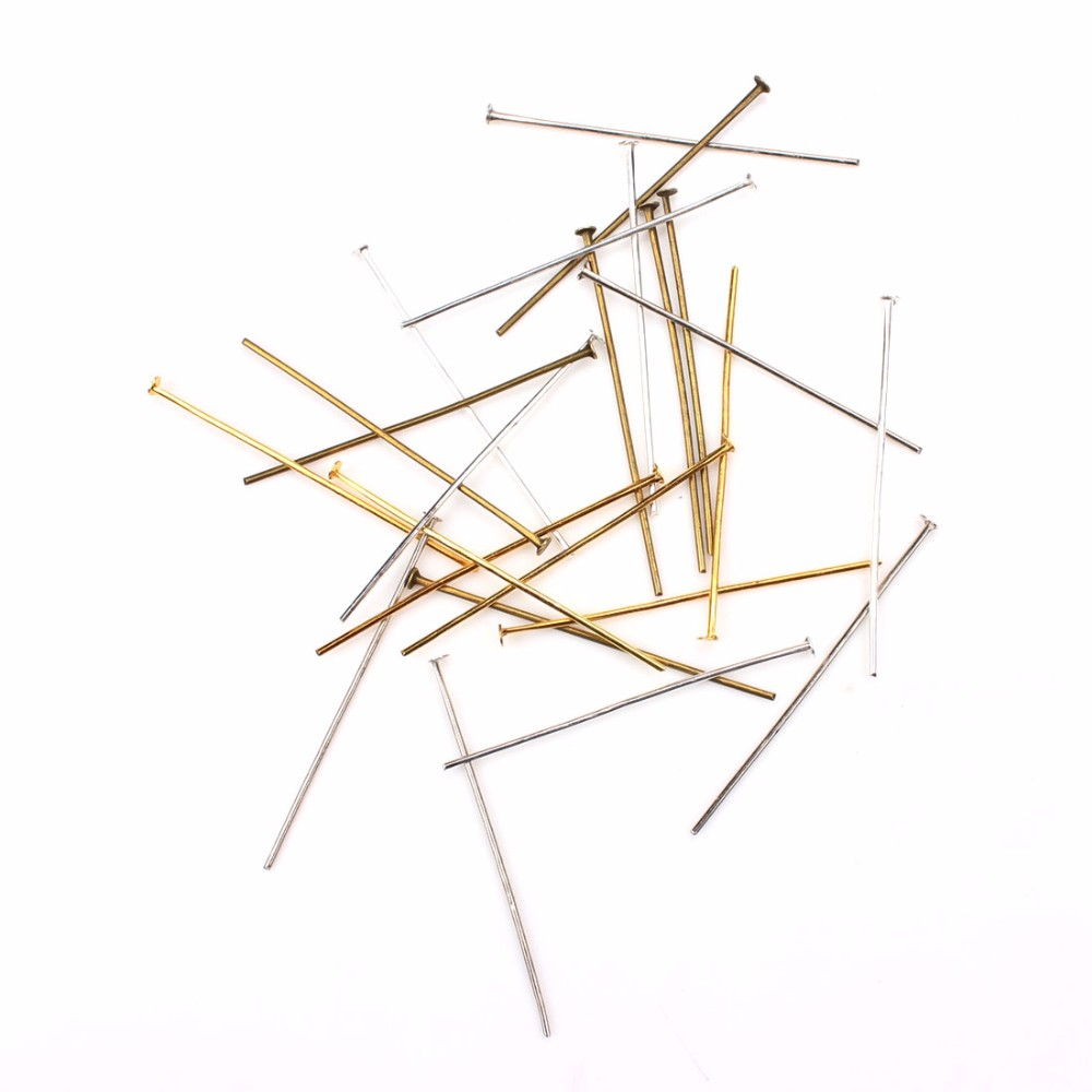 100pcs/lot 22/30/40/50mm Flat Head Pins Dia 0.5-0.7mm Gold/Silver/Rhodium/Bronze Head Pins For Jewelry Making Accessories