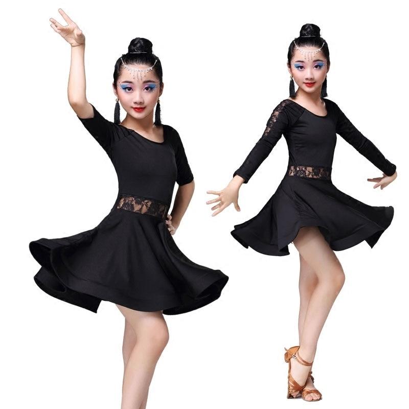 Kid Girls Lace Black Latin Dance Costumes Children Long Sleeve Ballroom Costume Skirt for Girls Salsa Cha Cha Tango Rumba Samba