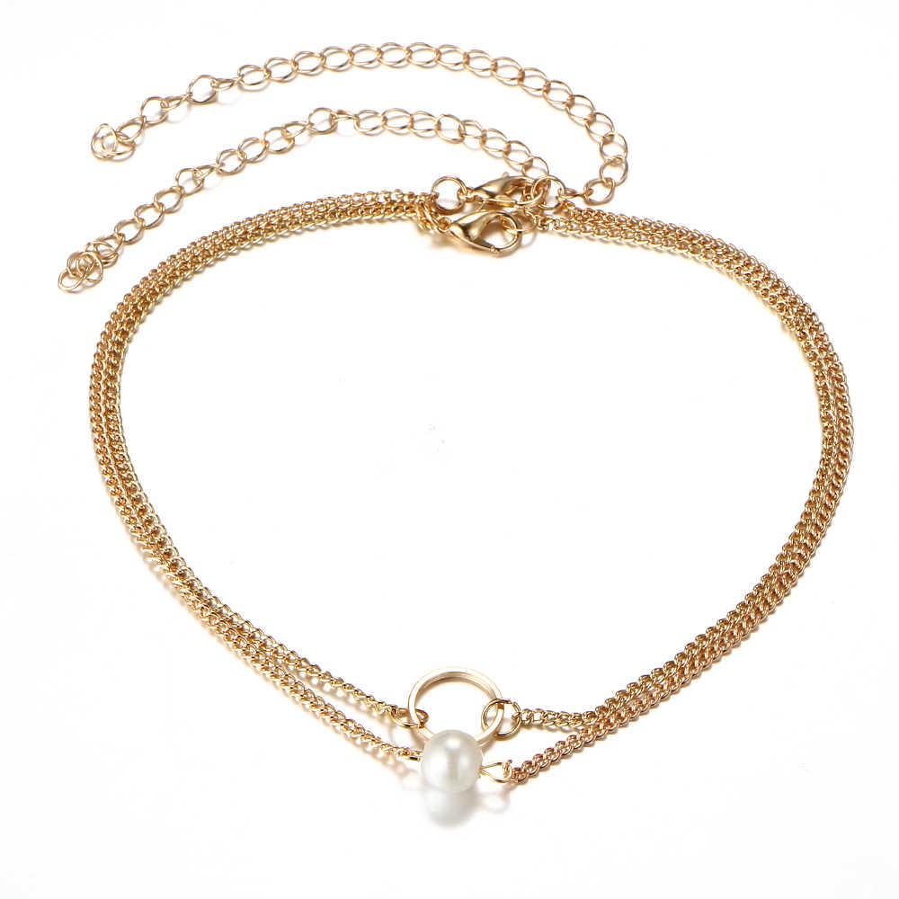 Женское многослойное ожерелье-чокер, одна цепочка, два стиля, простое колье с имитацией жемчуга, ожерелье, модные украшения