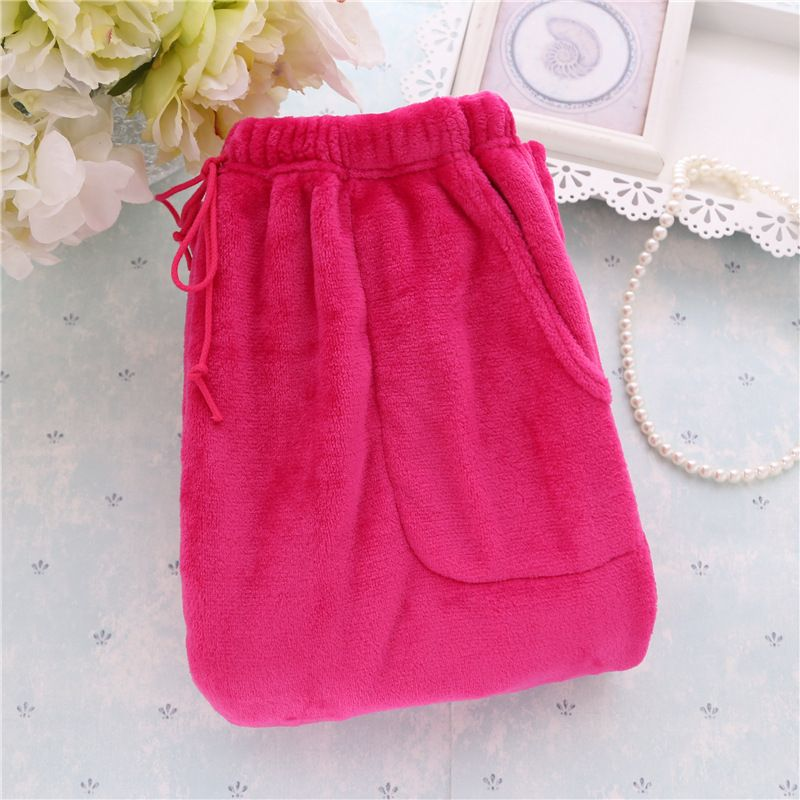 Winter Flannel Solid color Women Sleep Bottoms Womens Pajamas Pants Women's Thick Lounge Loose Baggy Trousers 101703