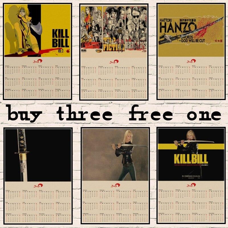 kill-bill-2018-calendar-movie-kraft-paper-poster-bar-cafe-living-room-dining-room-quentin-font-b-tarantino-b-font-poster