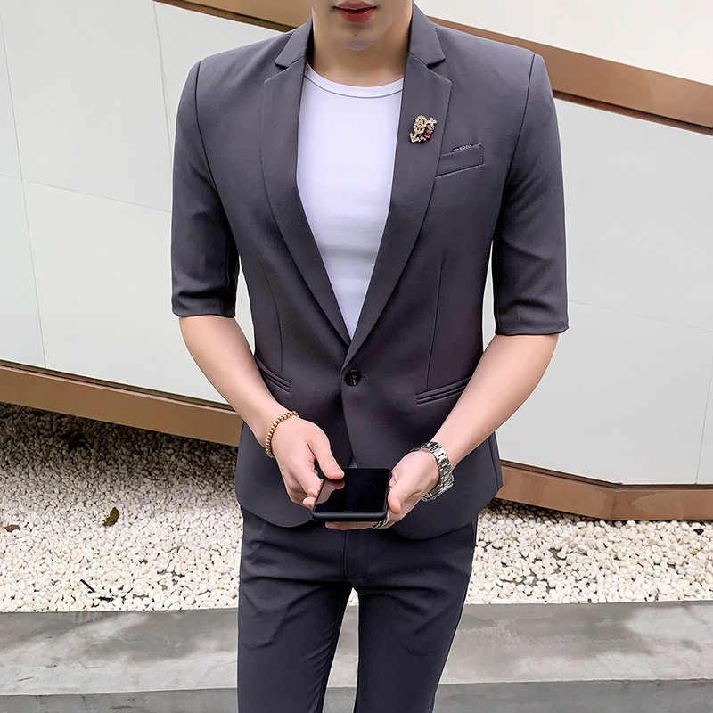 カスタム夏薄型スーツセットメンズミドルスリーブスーツ二枚韓国語バージョン痩身半袖スーツ