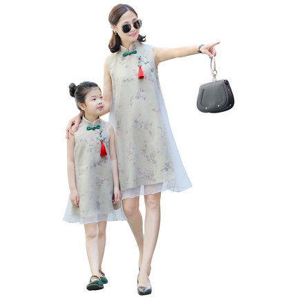 Summer Family Matching Clothes Mother Daughter Dresses Outfits Chinese Style Hanfu Qipao Desgin Cheongsam Sleeveless Dress Z831Summer Family Matching Clothes Mother Daughter Dresses Outfits Chinese Style Hanfu Qipao Desgin Cheongsam Sleeveless Dress Z831