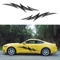 HotMeiNi 2X Lightning Theme Abstract Tribal Stripe Side Door JDM Car Body Sticker Car Styling Accessories Truck Decal 180*42CM