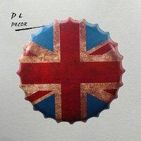 DL-British Flag Kapsel Mural Malowanie Rocznika Prezent Metal Tablica Club Party Plakietka Emaliowana Decor
