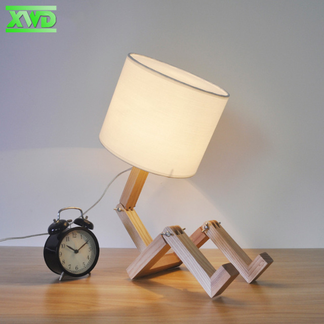 Modern Lovely Robot Shape Wooden Table Lamp E27 Lamp Holder 110-240V Parlor Indoor Study Desktop Lighting Bedside Lamps