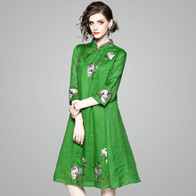 ed9aca1b07f62 2018 New Design Chinese Embroidery A-line Women Dresses Green Pink Cotton  Linen Dress Three