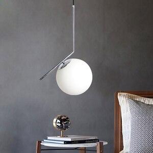 Image 1 - Подвесная лампа для помещений Современная Подвесная лампа для спальни, украшение для гостиной, стеклянный абажур со светодиодный Ной лампочкой E27 AC90 260V