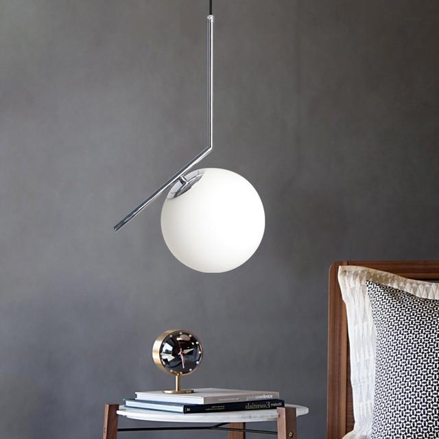 מקורה תליון אור מודרני חדר שינה תליון מנורת סלון קישוט תאורת זכוכית אהיל עם LED הנורה E27 AC90-260V