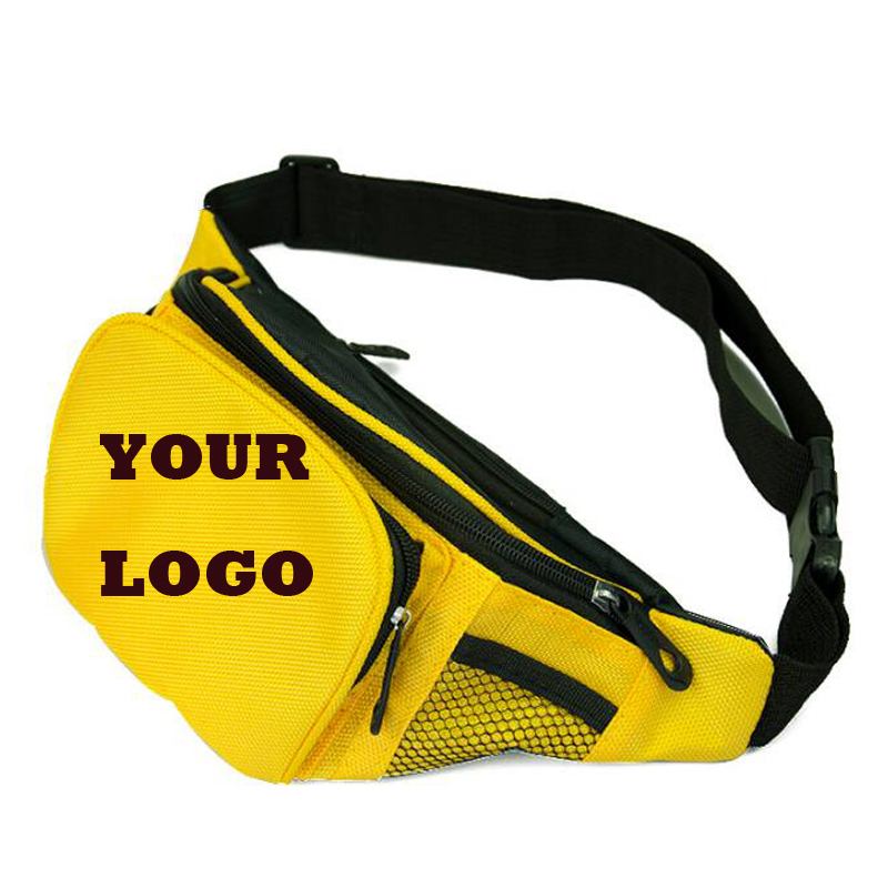 20pcs Custom Logo Waist Bags Casual Solid Men Waist Bags With Logo Oxford Bags Multi-function Bags