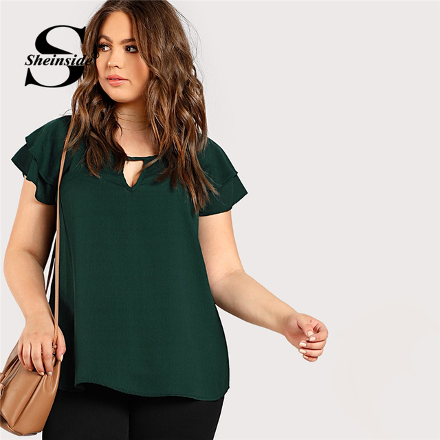 Sheinside Green Plus Size Keyhole Neck Loose Top Long Blouse With Butterfly Sleeve Summer Tops for Women 2019 Cap Sleeve Blouses