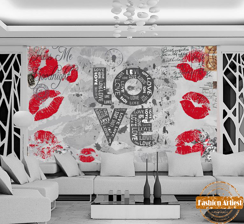 Custom Vintage Kiss Wallpaper Mural Red Lip Print Love Letter Poster Card Tv Sofa Bedroom Living