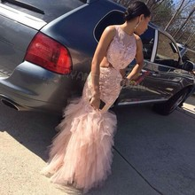ZJ4 Dreaming Long Pink Mermaid Prom Dresses 2016 Lace Fishtail Evening Dress Sexy Pageant Dress For Party Celebrity Gown