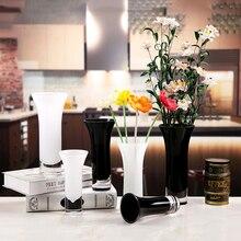 Black/white glass vase jarrones decorativos moderno terrarium glass containers flower vase wedding decoration accessories modern