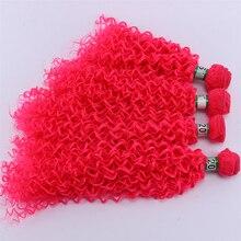 Энджи кудрявые вьющиеся волосы для наращивания 16-20 Доступные высокотемпературные волокна волос пучок розовый синтетические волосы плетение