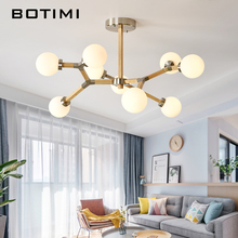 BOTIMI Modern LED Chandeliers With Glass Ball Lampshades For Living Room Bedrooms Wooden Adjustable Chandelier Lighting