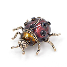 CINDY XIANG Big Cute Wine Red Color Beetle Brooches for Women Vintage Bugs Brooch Pin Fashion Suit Accessories High Quality Gift