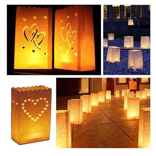 10pcs Festival Lantern Paper Candle Bag Outdoor Lighting Candles For Wedding Decorations Event Pary Supplies