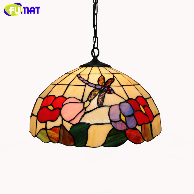 Tiffany Pendant Light Vintage Classic Tiffany Restaurant Suspension Lightings Creative Stained Glass Dragonfly Flowers lights La image