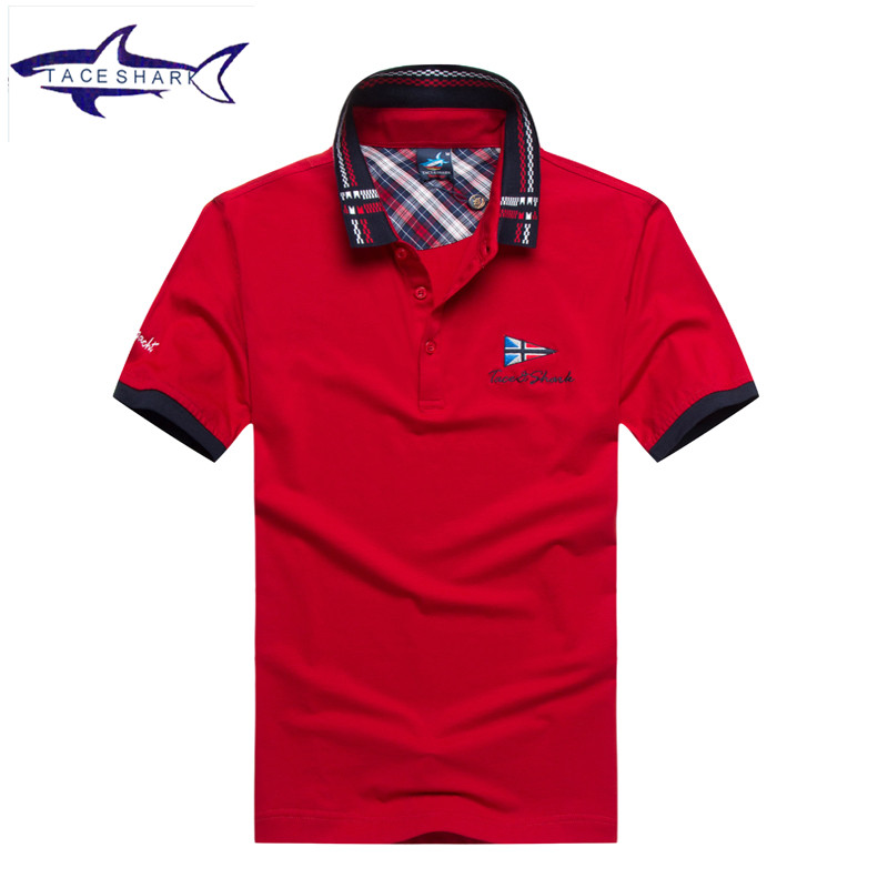 2017 New Tace Shark brand polo shirt men Summer casual striped cotton polo shirt solid formal