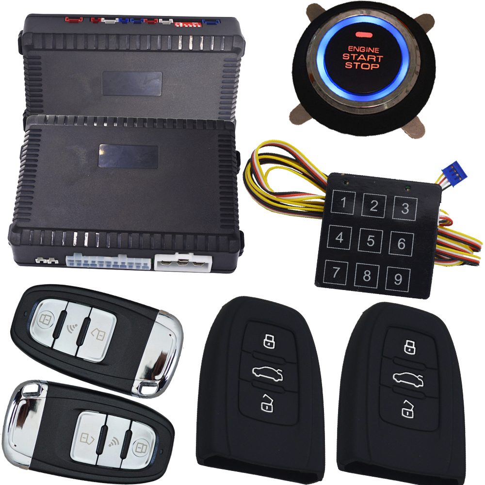 Passive car alarm system remote engine start stop push start stop smart key lock or unlock automatically gps tracker output pke auto lock unlock 12v cars push start stop remote start stop car alarm