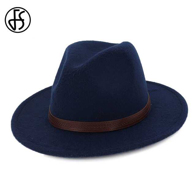 f16d86281324e FS Cotton Navy Black Felt Fedora Hat For Women Elegant Men Classic Royal  Wide Brim Vintage Bowler Top Hats With Leather Belt