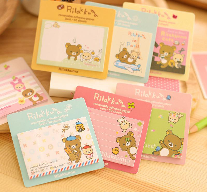 1Pcs New Cute Easily Bear Sticky Notes Creative Cartoon Design Messages Posted Multifunction Book H0278