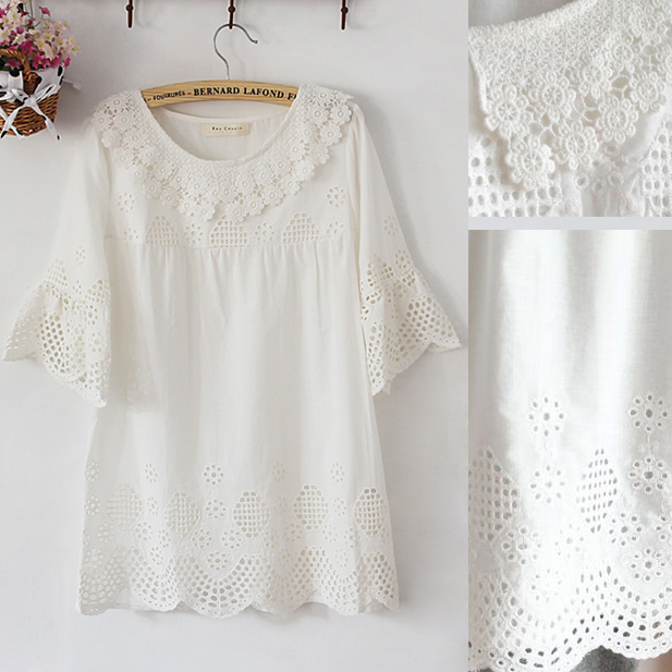 Algodón del bordado del vestido Mini, vintage 70 s CROCHET pura ...