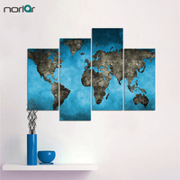4 Pieces Canvas Paintings Blue Background Retro World Map Wall Art Painting Pictures Print On Canvas Art The Picture Unframed