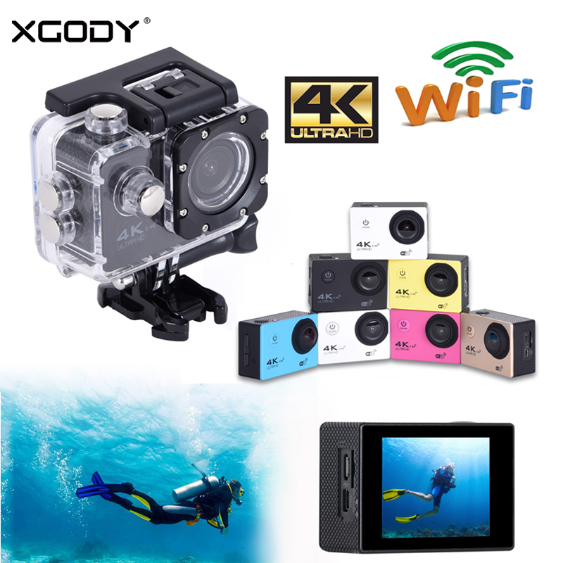 XGODY H12R 2 Waterproof Sport DVR Camera Ultra HD 4K Camcorder Action Dash Cam Wifi Remote Control 1080P 170 Degree Wide Angle