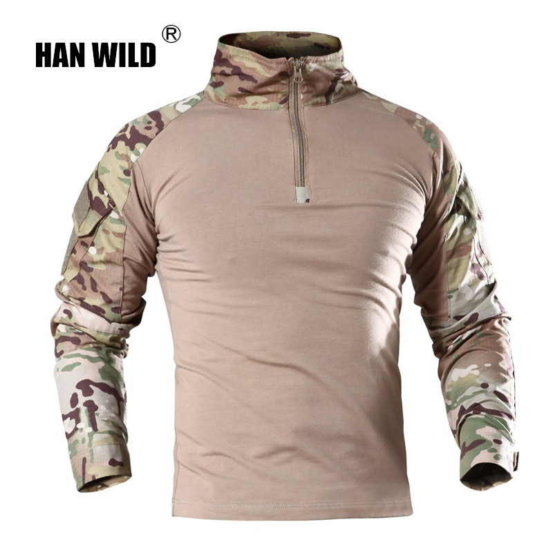 HAN WILD Outdoor Tactical T shirt Men Combat Shirt Airsoft Paintball Tactical Military Army Shirts Uniform Hiking Hunting Shirt in Hiking T shirts from Sports Entertainment