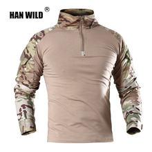 Мужская Уличная тактическая футболка han армейская рубашка для