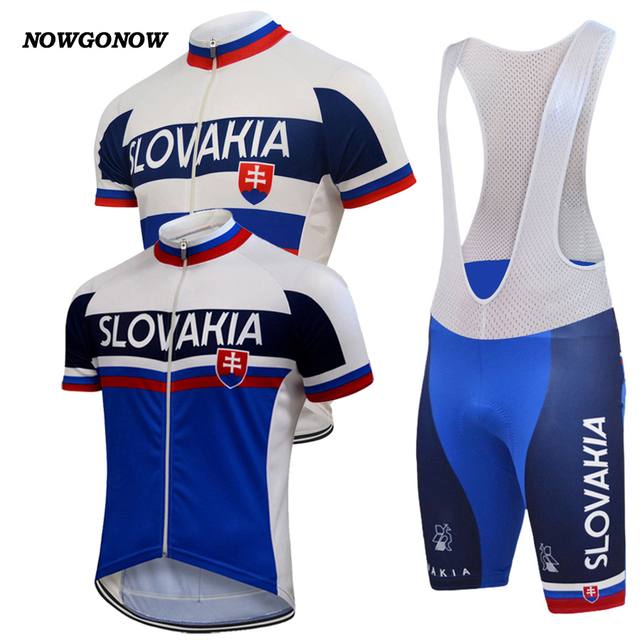 58f4ae19e 2019 Men cycling jersey set white blue Slovakia flag national clothing bike  wear road mountain NOWGONOW gel pad bib shorts -in Cycling Sets from Sports  ...
