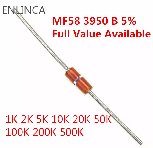 10Value kit 10value*10=100pcs Thermal Resistor NTC MF58 1K 2K 5K 10K 20K 50K 100K 200K 500K 1M 5% 3950B ohm R Thermistor Sensor