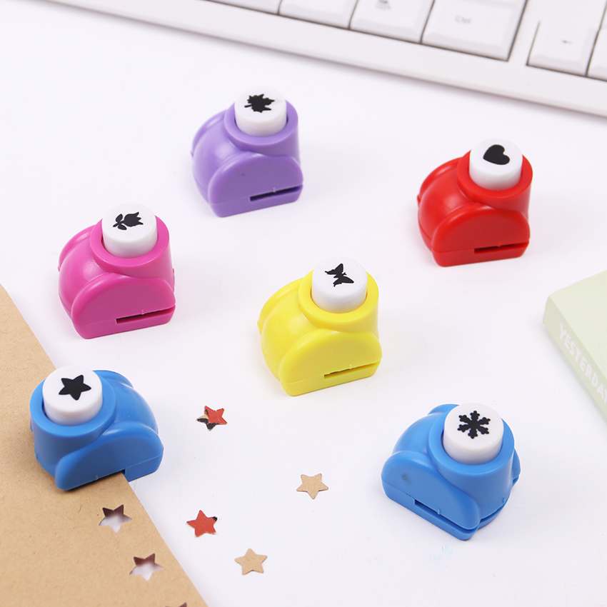 Kawaii Mini Student Hole Punch DIY Handmade Cutter Card Crafts Printing Puncher Rose Heart Butterfly Shape Puncher
