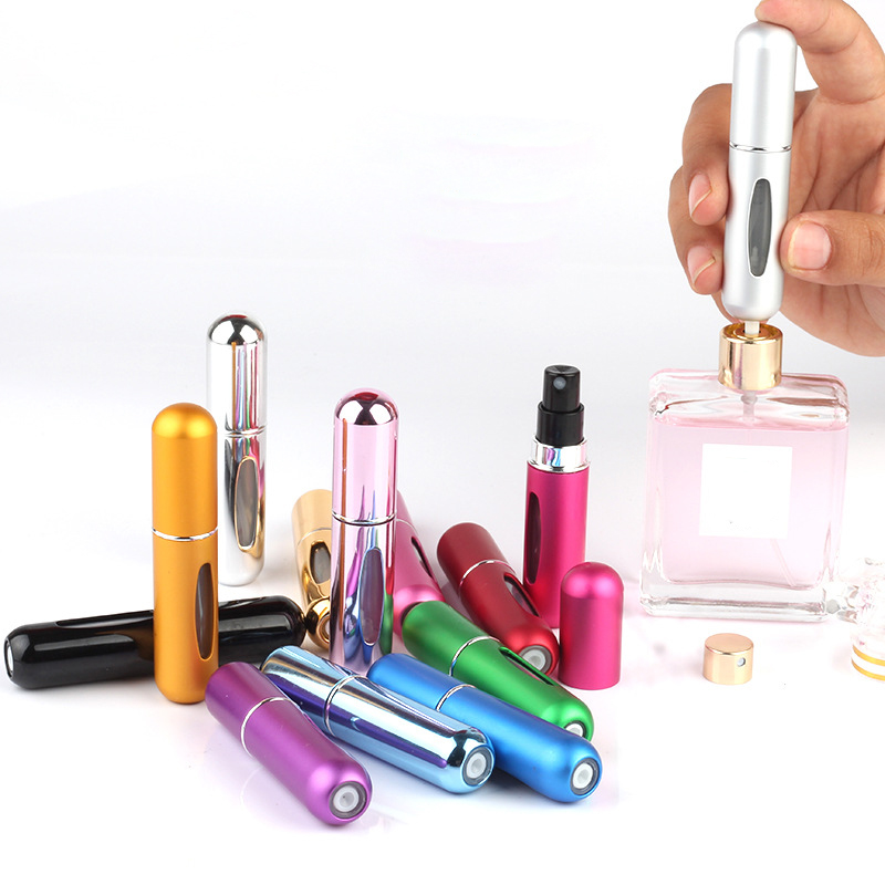 1pc 5ml Refillable Perfume Spray Bottle  Aluminum Spray Container Portable Travel Cosmetic Container Perfume Bottle Many Color
