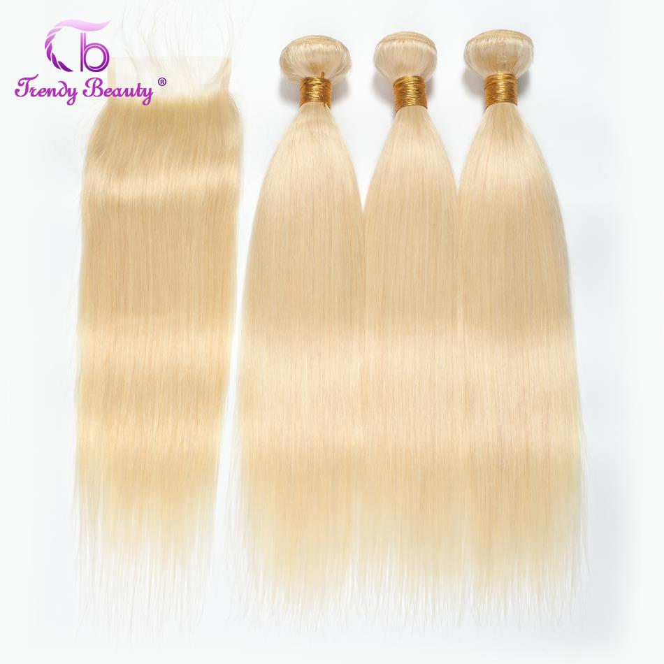 Peruvian Straight Hair 613 Blonde 2 3 Bundles With Closure 4x4 inches Non Remy Hair Extension