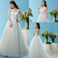 Western Style A Line Jewel Sweep Train Organza Sheer Neckline Wedding Dresses Most Popular Wedding Gowns Lace Top