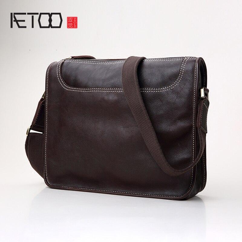 AETOO sac à bandoulière unique en cuir homme sac oblique croix sac rétro décontracté horizontal hommes sac