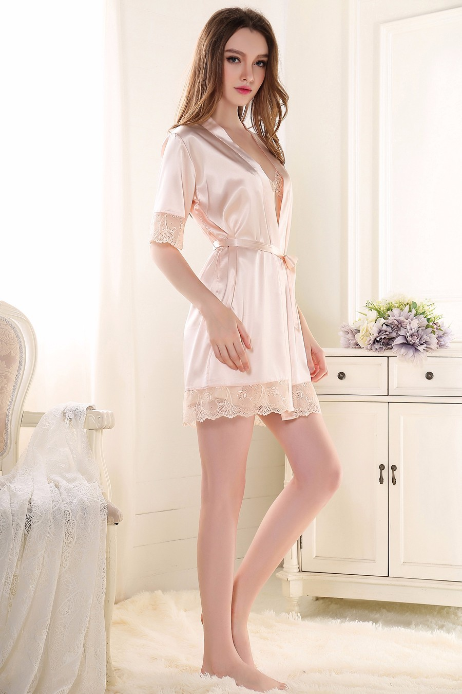 Women Sexy Charming Bathrobe Lingerie Pajamas sets Rayon Nightgown ... 4471a3269