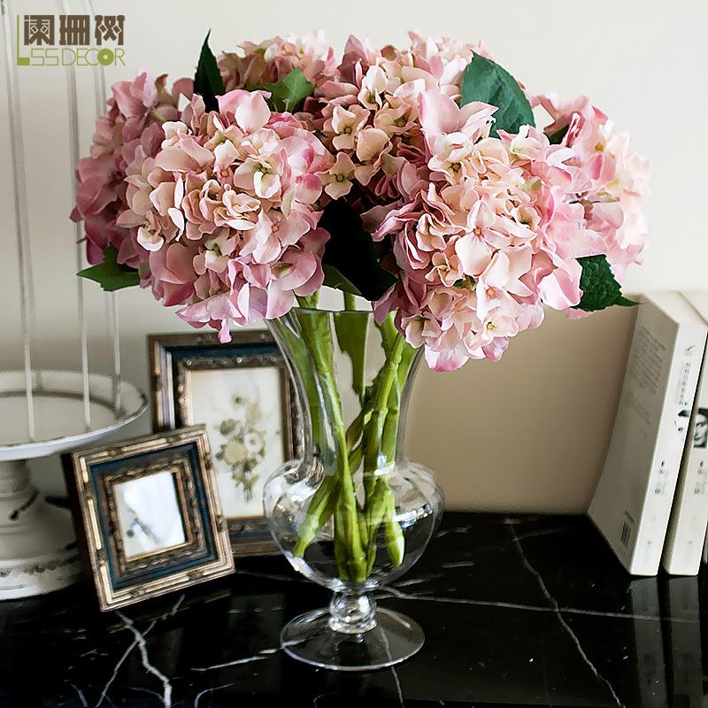 - single hydrangea artificial flower light cup glass tall vase set whole artificial flower