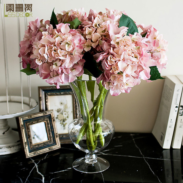 tall vase lighting garden. Single Hydrangea Artificial Flower Light Cup Glass Tall Vase Set Whole Lighting Garden 1
