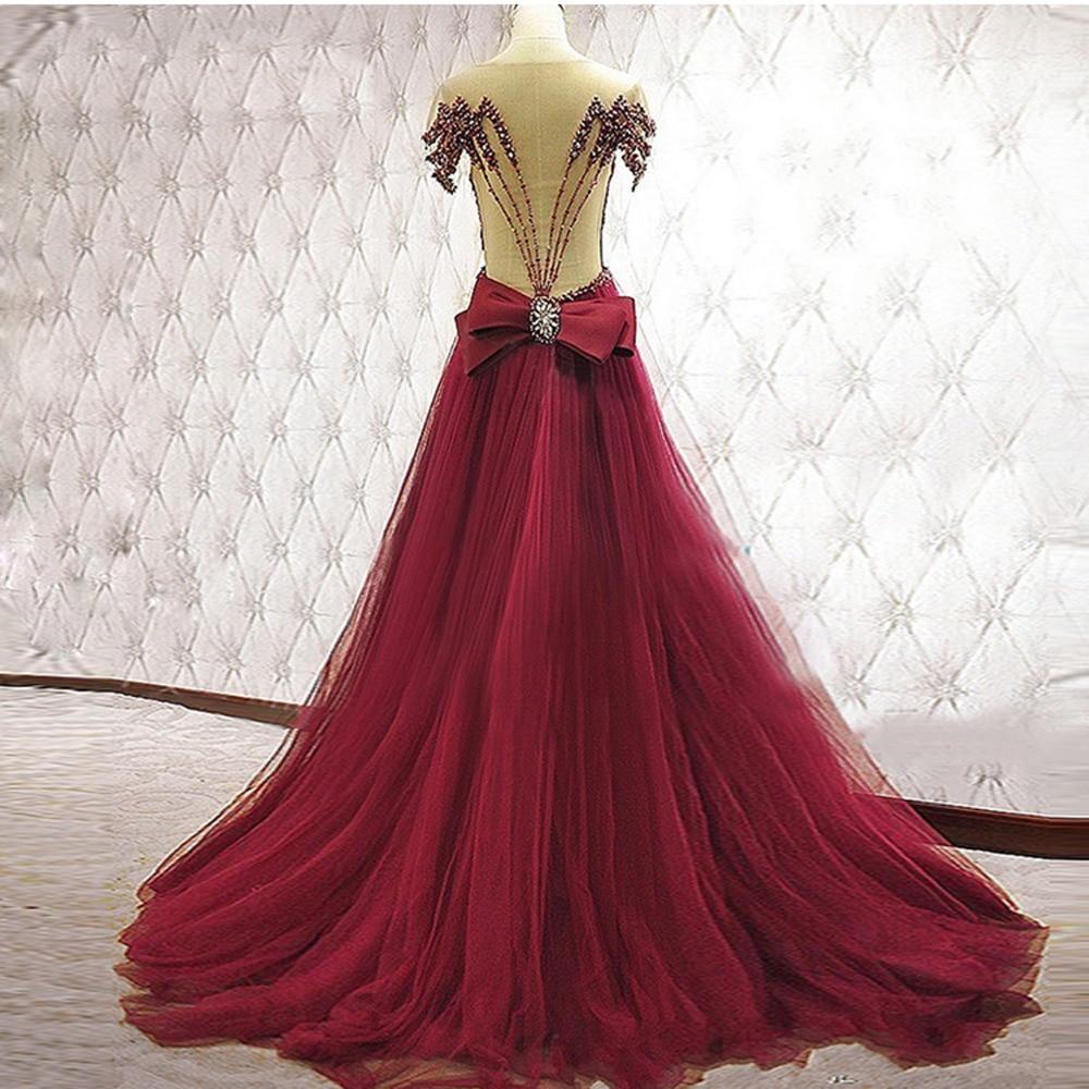 Burgundy Muslim   Evening     Dresses   2019 A-line Short Sleeves Tulle Pearls Islamic Dubai Saudi Arabic Long Elegant   Evening   Gown Prom