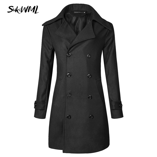 SUKIWML 2017 Fashion Men's Long Trench Coats Winter Warm Polyester Trench  Coat Masculino Double Breasted Black