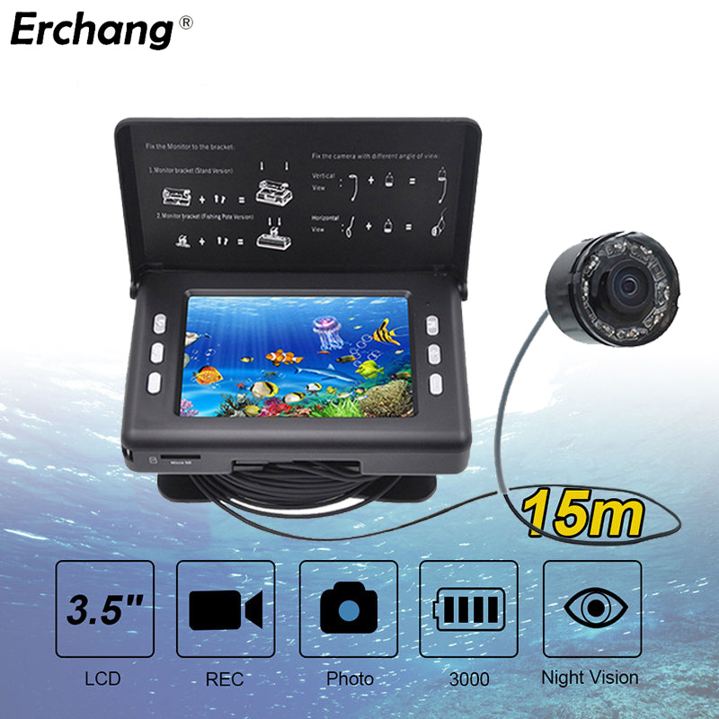 Erchang Underwater Fishing Camera 15M Cable 3.5inch LCD Screen 8pcs Infrared LED Fish Finder DVR Recorder With 3000mAh Battery free shipping boblov 15m 7 lcd 1000tvl fish finder infrared fishing camera dvr recorder ip68