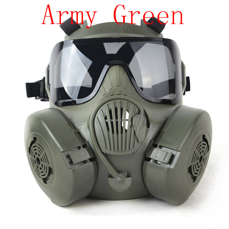 2pcs BLK/Green M50 High Quality Mask Tactical Wargame Paintball Full Face Skull Gas Mask with Fan 22.5*17.5cm Free Shipping m04gas mask use for tactical competition dummy gas mask fan multiple color innovative design for cosplay protection gear wargame